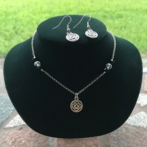 Celtic Irish knot necklace and earrings set